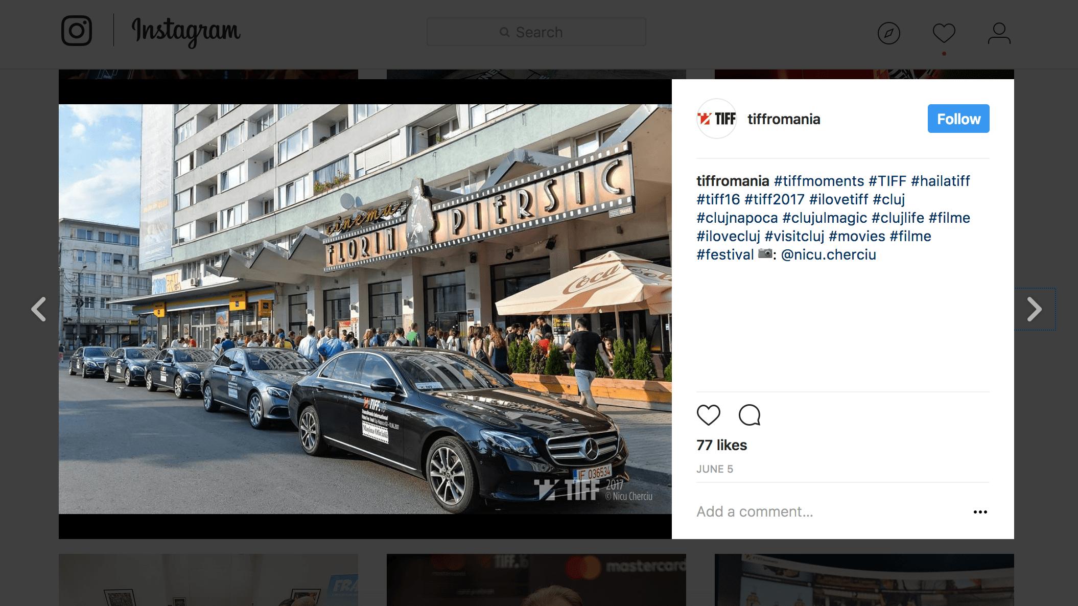 Cam asa s-a vazut Mercedes-Benz la TIFF 2017 pe Instagram